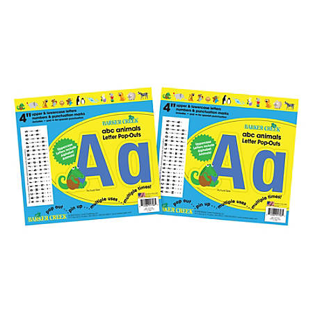 """Barker Creek Letter Pop-Outs, 4"""", ABC Animals, Pack Of 386"""