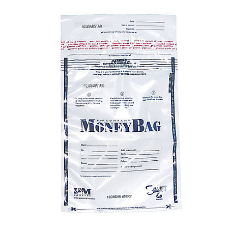 "PM™ Company Clear Disposable Plastic Deposit Bags, 9"" x 12"", Pack Of 100"