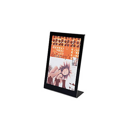 "Deflecto® Superior Image® Slanted Sign Holder, 12 1/2""H x 9 1/2""W x 2 3/4""D, Clear/Black"
