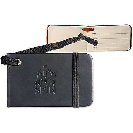"""Tuscany Faux Leather Luggage Tag, 2 3/8""""H x 4""""W x 1/8""""D"""
