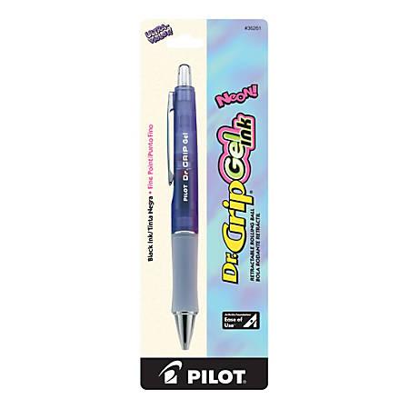Pilot® Dr. Grip™ Gel Rollerball Pen, Fine Point, 0.7 mm, Ultraviolet Barrel, Black Ink