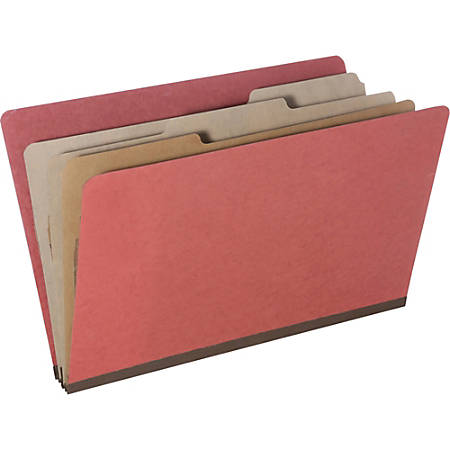 SKILCRAFT® Pressboard Classification Folders, Legal Size, 8-Section, 30% Recycled, Earth Red, Pack of 10 (AbilityOne 7530-01-572-6205)