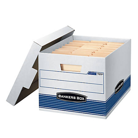 """Bankers Box® Quick/Stor™ 60% Recycled Storage Boxes, 15"""" x 12"""" x 10"""", Letter/Legal Size, Pack Of 4"""