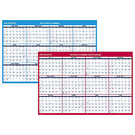 """AT-A-GLANCE® Horizontal Yearly Erasable Wall Calendar, 48"""" x 32"""", January To December/July To June"""