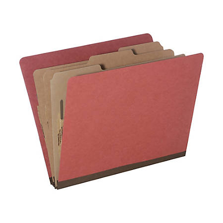 SKILCRAFT® Pressboard Classification Folders, Letter Size, 8-Section, 30% Recycled, Earth Red, Pack of 10 (AbilityOne 7530-01-572-6208)