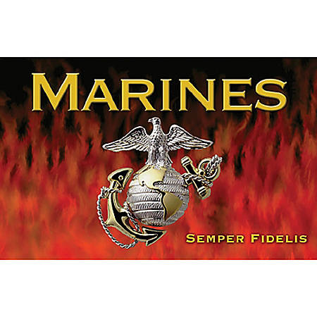 """California Color Products Marines Door Mat, 24"""" x 36"""", Flames, Pack Of 3"""