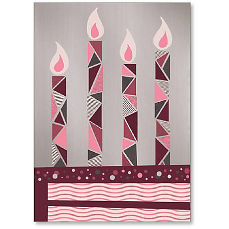"""Viabella Birthday Greeting Card With Envelope, Four Candles, 5"""" x 7"""""""