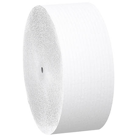 "Scott Coreless Jumbo Roll Tissue - 1 Ply - 3.78"" x 2300 ft - 9"" Roll Diameter - White - Fiber - Coreless, Non-chlorine Bleached - For Bathroom - 12 / Carton"