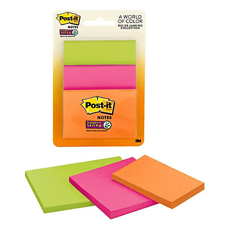 Post it® Super Sticky Notes, Assorted Sizes, Rio de Janeiro, Pack Of 3 Pads