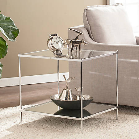 Southern Enterprises Knox Glam Mirrored End Table, Square, Chrome