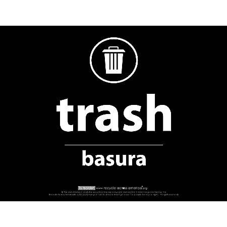 "Recycle Across America Trash Standardized Recycling Labels, TRASH-8511, 8 1/2"" x 11"", Black"