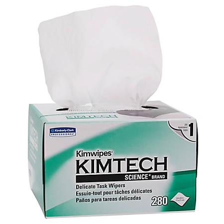 "KIMTECH Kimwipes Delicate Task Wipers - 1 Ply - 4.40"" x 4.80"" - White - Light Duty, Anti-static - 280 / Box"