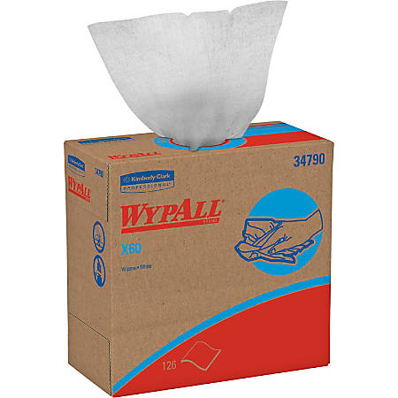 """Wypall Kimberly-Clark X60 Wipers - 9.10"""" x 16.80"""" - White - Hydroknit - Lightweight, Absorbent, Residue-free, Durable, Strong, Reinforced - For General Purpose - 1260 / Carton"""