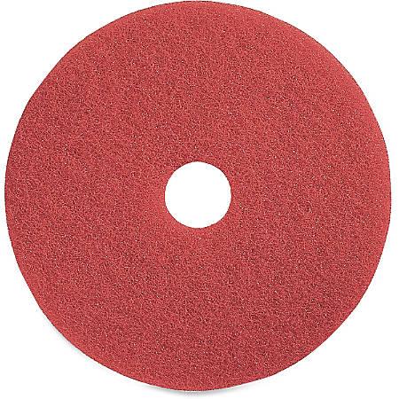 "Genuine Joe Red Buffing Floor Pad - 16"" Diameter - 5/Carton x 16"" Diameter x 1"" Thickness - Fiber - Red"