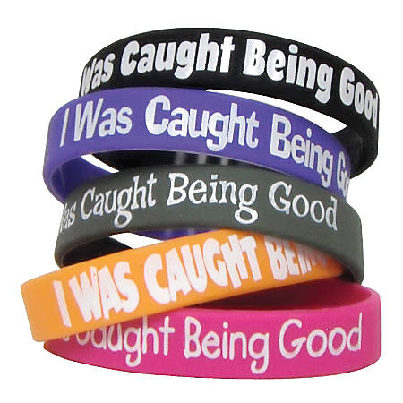 """Teacher Created Resources Wristbands, I Was Caught Being Good, 7 1/4"""", Assorted Colors, Pre-K - Grade 12, Pack Of 10"""