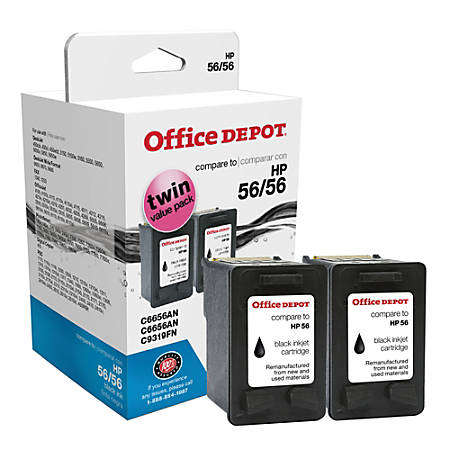 Office Depot® Brand C56-2 Remanufactured Ink Cartridge Replacement For HP 56 Black, Pack Of 2