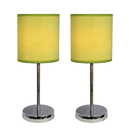 "Simple Designs Mini Basic Table Lamps, 11 7/8""H, Green Shade/Chrome Base, Set Of 2"