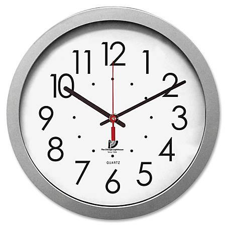 """Chicago Lighthouse Contemporary Quartz Wall Clock, 14 1/2"""", White/Silver"""
