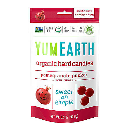 Yummy Earth Organic Pomegranate Pucker Hard Candies, 3.3 Oz, Pack Of 3 Bags