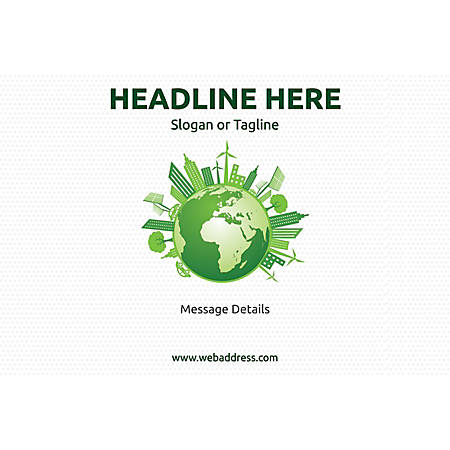 Adhesive Sign, Green World, Horizontal