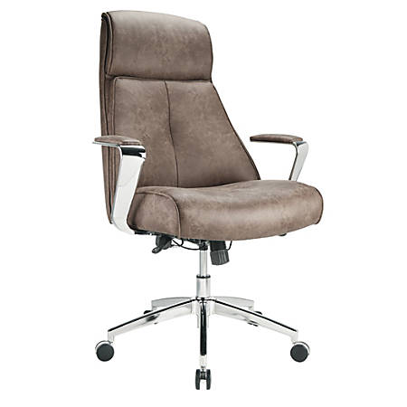 Realspace® Modern Comfort series Devley Leath-Aire High-Back Chair, Chestnut/Chrome
