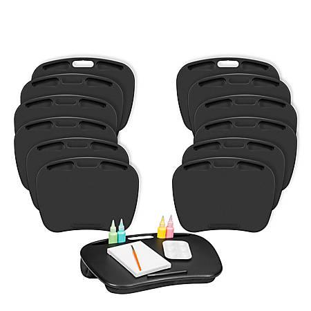 "LapGear MyDesk Lap Desks, 18-1/2"" x 9-15/16"", Black, Pack Of 12 Desks"