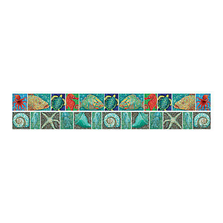"""Barker Creek Double-Sided Straight-Edge Border Strips, 3"""" x 35"""", Coral Reef, Pack Of 12"""