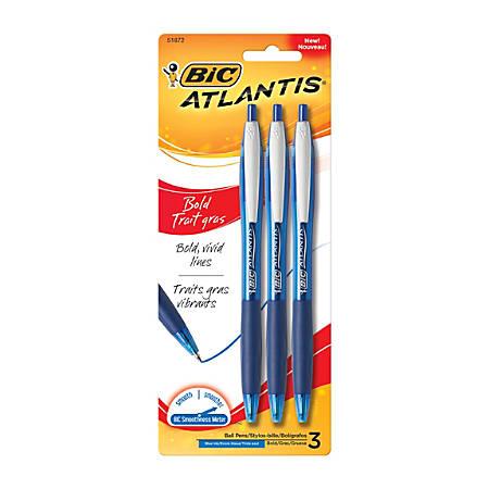 BIC® Atlantis™ Bold Retractable Ballpoint Pens, Bold Point, 1.6 mm, Translucent Blue Barrel, Blue Ink, Pack Of 3