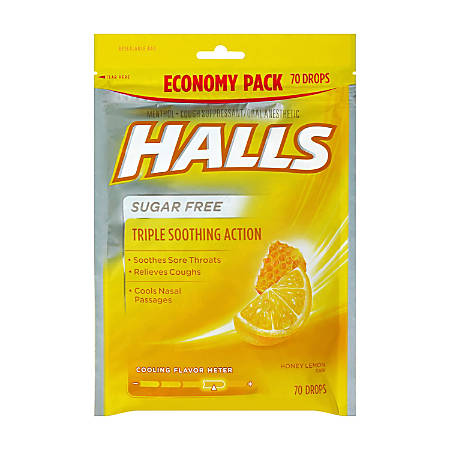 Halls Sugar-Free Honey Lemon Cough Drops, 70 Drops Per Bag, Pack Of 2 Bags