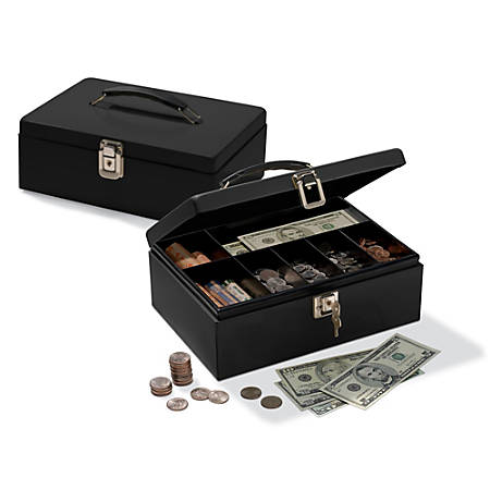 "Office Depot® Brand Cash Box With Locking Hatch, 3 7/8""H x 11""W x 7 5/8""D"
