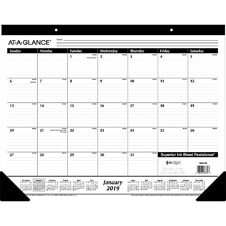 "At-A-Glance Classic Monthly Desk Pad - Yes - Monthly - 1 Year - January 2019 till December 2019 - 1 Month Single Page Layout - 22"" x 17"" - Headband - Desk Pad, Wall Mountable - Black - Paper, Poly - Durable, Non-refillable, Perforated"