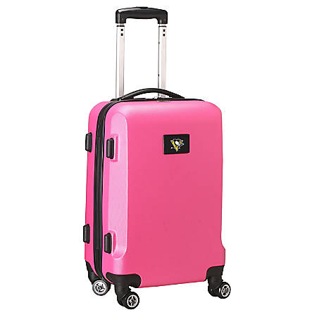 "Denco 2-In-1 Hard Case Rolling Carry-On Luggage, 21""H x 13""W x 9""D, Pittsburgh Penguins, Pink"