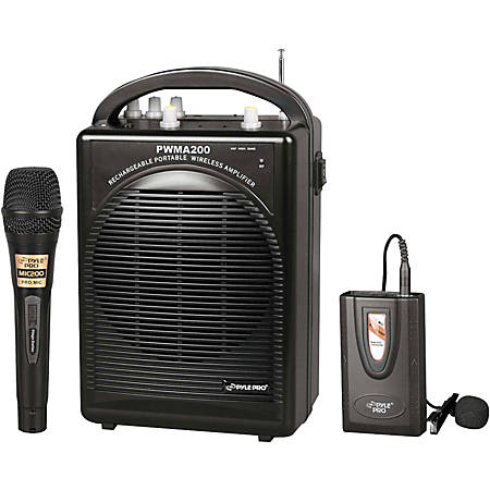 PylePro PWMA200 Rechargeable Portable PA System With Wireless Lavalier/Headset Microphone and 1 Wired Microphone, Black