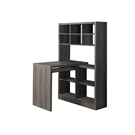 Monarch Specialties Corner Computer Desk With Built-In Shelves, Dark Taupe