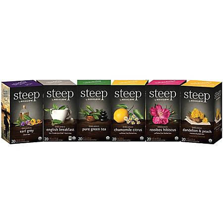 Bigelow Organic Tea Assortment - Earl Grey, English Breakfast, Citrus, Chamomile, Rooibos, Hibiscus, Dandelion, Peach Rooibos - 120 / Carton