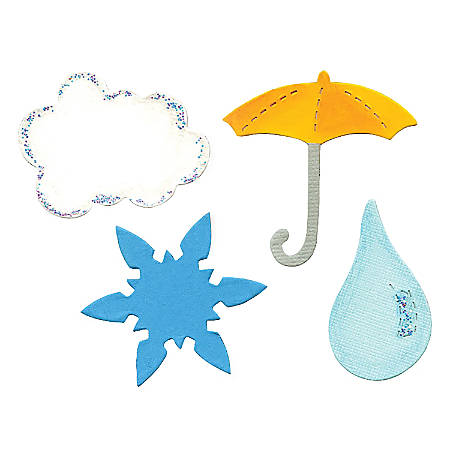 Sizzix® Bigz™ Dies, Cloud, Raindrop, Snowflake And Umbrella