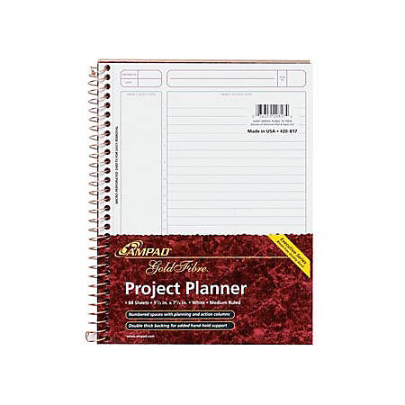 TOPS Gold Fibre Premium Wirebnd Project Planner - Action - White - Wire Bound - Assorted - Notes Area, Heavyweight, Micro Perforated, Durable Cover, Sturdy Back, Easy Tear