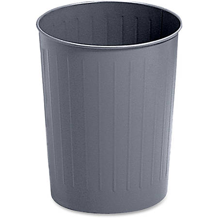 Safco® Round Wastebasket, 5 7/8 Gallons, Charcoal