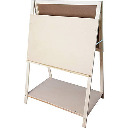 "Flipside Teaching Easel - 35"" (2.9 ft) Width x 22"" (1.8 ft) Height - White Masonite Surface - Rectangle - Horizontal - Assembly Required - 1 Each"