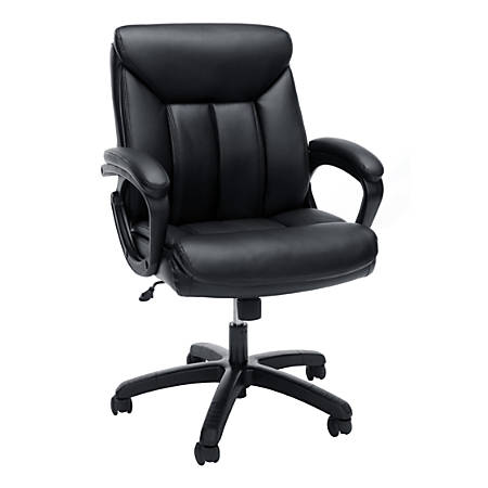 Essentials By OFM Bonded Leather Mid-Back Chair, Black/Black