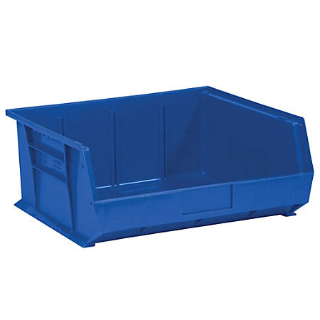 """Office Depot® Brand Plastic Stack And Hang Bin Boxes, 14 3/4"""" x 16 1/2"""" x 7"""", Blue, Pack Of 6"""
