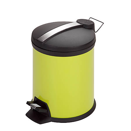 Honey-Can-Do Steel Step Trash Can, Round, 1.3 Gallons, Lime Green