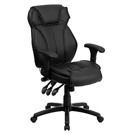 Flash Furniture Leather High-Back Swivel Chair, Black