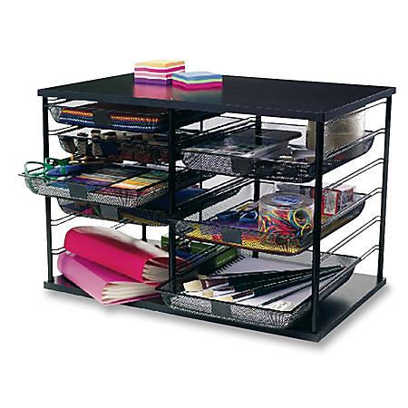 """Rubbermaid® 12-Compartment Desktop Organizer, 16 7/16""""H x 29 1/8""""W x 7 1/8""""D, Black"""