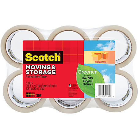 """Scotch® Long Lasting Storage Packaging Tape, 1-7/8"""" x 49.2 Yd., Pack Of 6 Rolls"""
