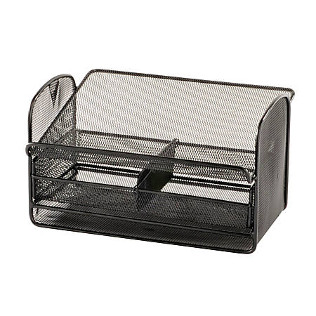 "Safco® Onyx Mesh Telephone Stand With Drawer, 7""H x 11 3/4""W x 9 1/4""D, Black"