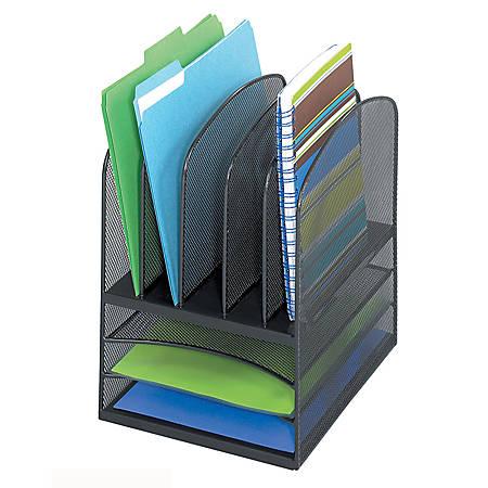 "Safco® Onyx™ Mesh Desk Organizer, 3 Horizontal/5 Upright, 13"" H x 11½"" W x 9½"" D, Black"