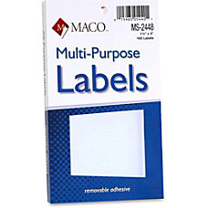 MACO White Multi Purpose Labels MACMS2448