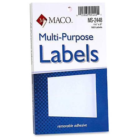 "MACO® White Multi-Purpose Labels, MACMS2448, Removable Adhesive, 1 1/2""W x 3""L, Rectangle, White, 160 Per Pack"