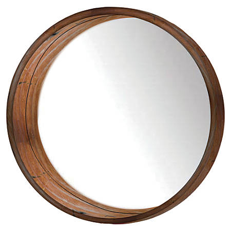 """PTM Images Framed Mirror, Round Wall, 24""""H x 24""""W, Natural Brown"""